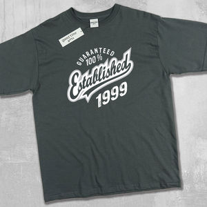 'Established 1999' 18th Birthday T Shirt - for him