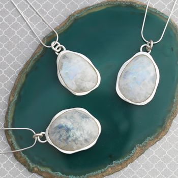 Silver Moonstone Birthstone Necklace Pendant