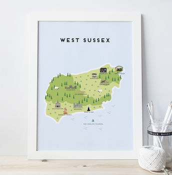 Map Of West Sussex Print