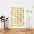 Arc Pattern Art Print In Yellow And Grey