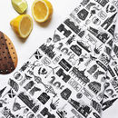 Scottish Illustrated Black And White Tea Towel