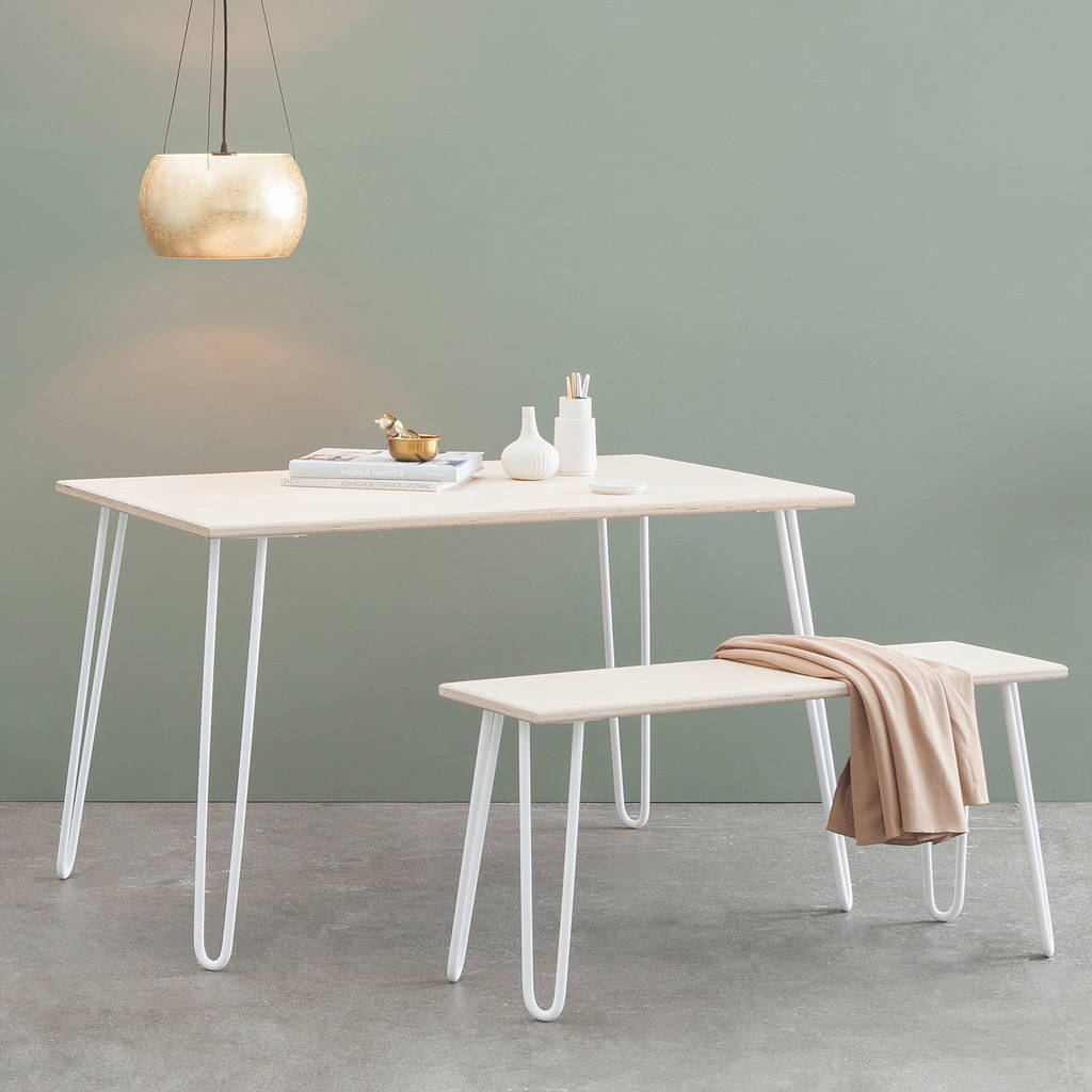 Dining Set With Hairpin Legs In Plywood