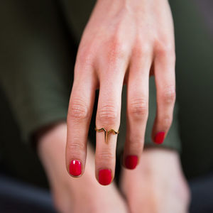Gold Plated Mid Finger Ring - contemporary jewellery