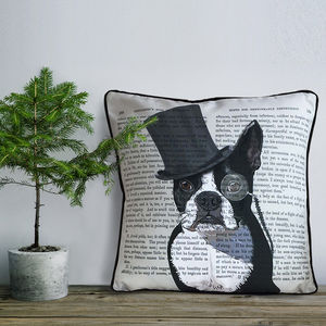 Boston Terrier Cushion, Formal Dog Collection - living room