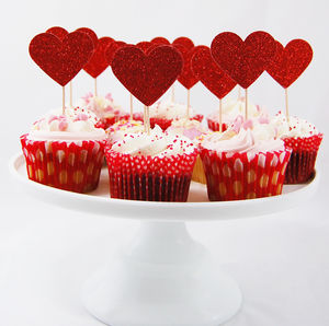 Set Of 12 Large Glitter Heart Cupcake Toppers