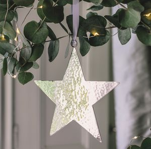 Silver Hammered Star Tree Decoration - tree decorations