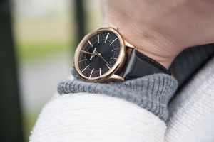 'Confluence' Black And Rose Gold Unisex Watch - womens