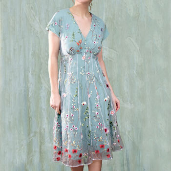Summer Dress In Meadow Flower Embroidered Lace