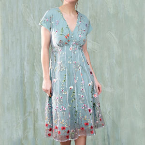 Summer Dress In Meadow Flower Embroidered Lace - sale