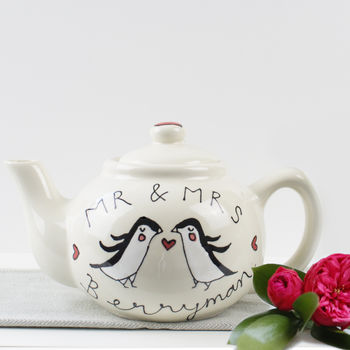 Personalised Penguin Couple Wedding Teapot