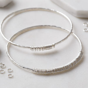 Personalised Silver Rings Milestone Bangle - 25th anniversary: silver