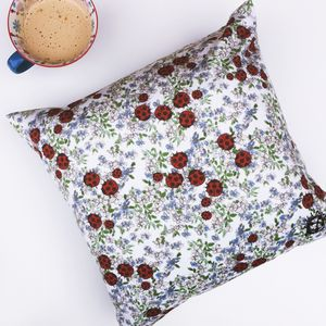 Velvet Cushion Cover With Floral Ladybird Print