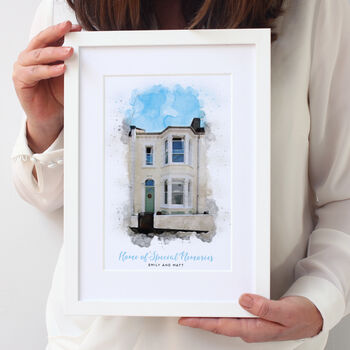 watercolour illustration of London home
