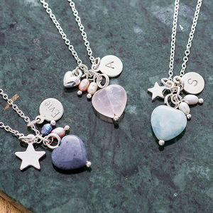 Maya Stone Heart Silver Necklace - children's jewellery