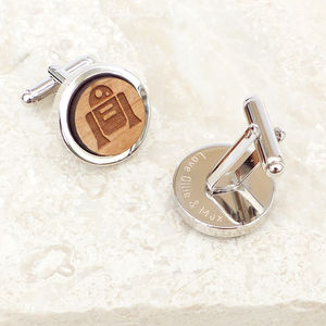Personalised Wooden 'R2d2' Cufflinks
