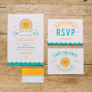 Summer Beach Retro Wedding Stationery Collection - invitations
