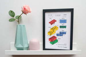 Framed Lego Block Sheet One Coloured Art Print