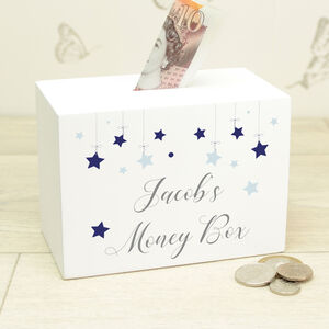 Personalised Stars Wooden Money Box