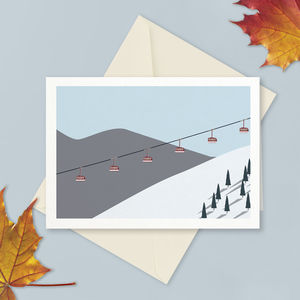 Winter Ski Lift Greetings Card