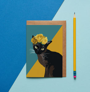 Betty The Black Cat Card
