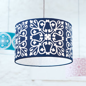 Moroccan Tile Lampshade In Midnight Blue - lampshades