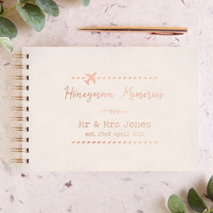 Personalised Foiled Honeymoon Memory Book - 1st anniversary: paper