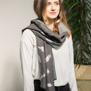 Charcoal Scarf With A Silver Leaf Detail