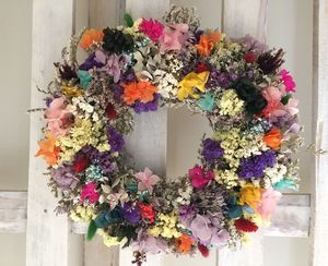 North Christmas Wreath Made From Dried Flowers