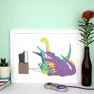Dinosaur Video Game Print - posters & prints