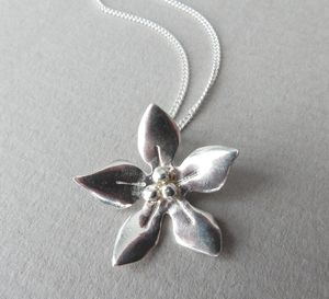 Silver Wildflower Pendant And Chain - necklaces