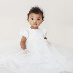 Bespoke Silk And Tulle Traditional Christening Gown