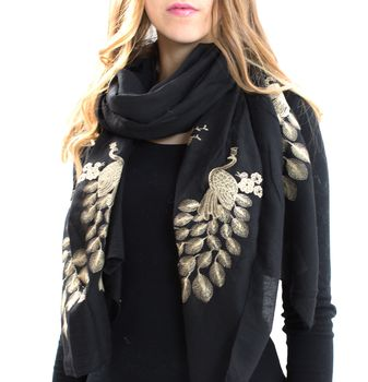 Gold And Black Peacock Print Scarf