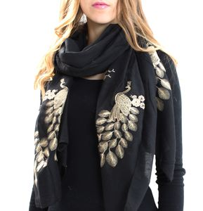 Gold And Black Peacock Print Scarf - scarves