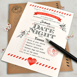 Personalised Date Night Certificate