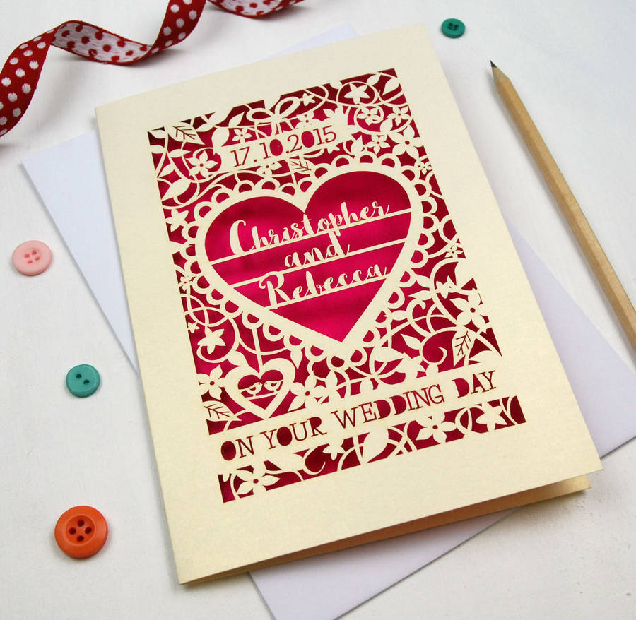 Personalised Papercut On Your Wedding Day Card By Pogofandango