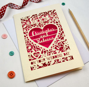 Personalised Papercut 'On Your Wedding Day' Card - wedding cards