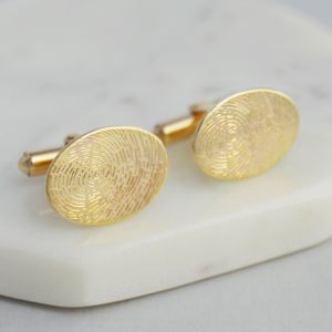 Personalised 9ct Gold Oval Fingerprint Cufflinks