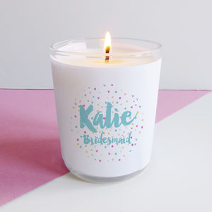 Personalised Bridesmaid Confetti Candle