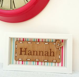 Personalised Girl's Name Oak Artwork - door plaques & signs