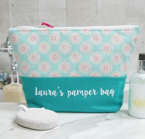 Personalised Daisy Design Wash Bag
