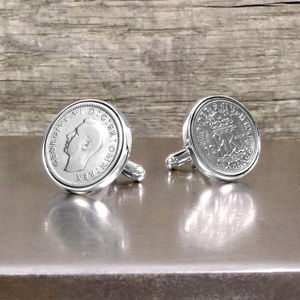 Hallmarked Silver Lucky Sixpence Cufflinks - personalised gifts
