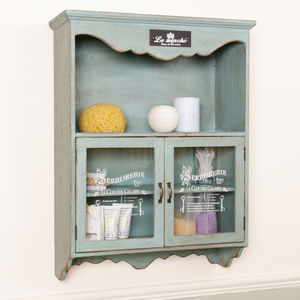 Vintage Blue French Wall Cupboard - dining room