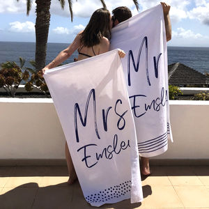 Personalised Mr And Mrs Beach Towel - bathroom