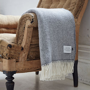 Cashmere And Merino Herringbone Throw