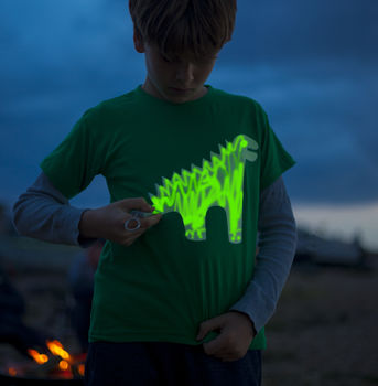 Dinosaur Glow In The Dark Interactive Kids T Shirt