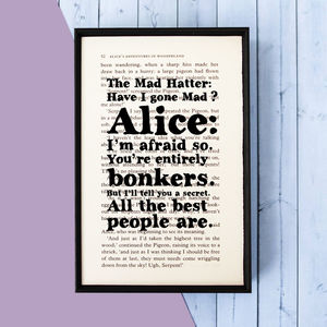Alice In Wonderland Mad Hatter Quote Print - prints & art