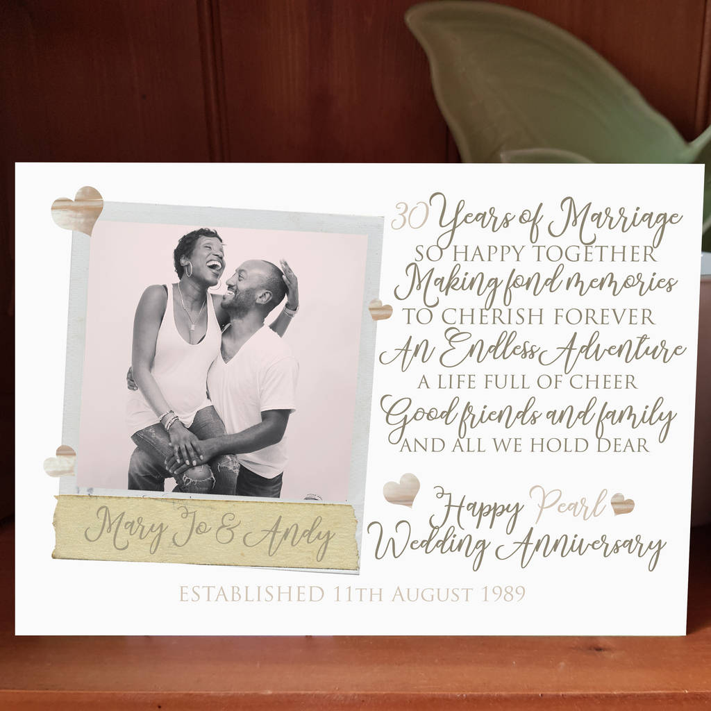 30th Wedding Anniversary Gift Ideas For Men: Personalised 30th Wedding Anniversary Photo Card By Giddy