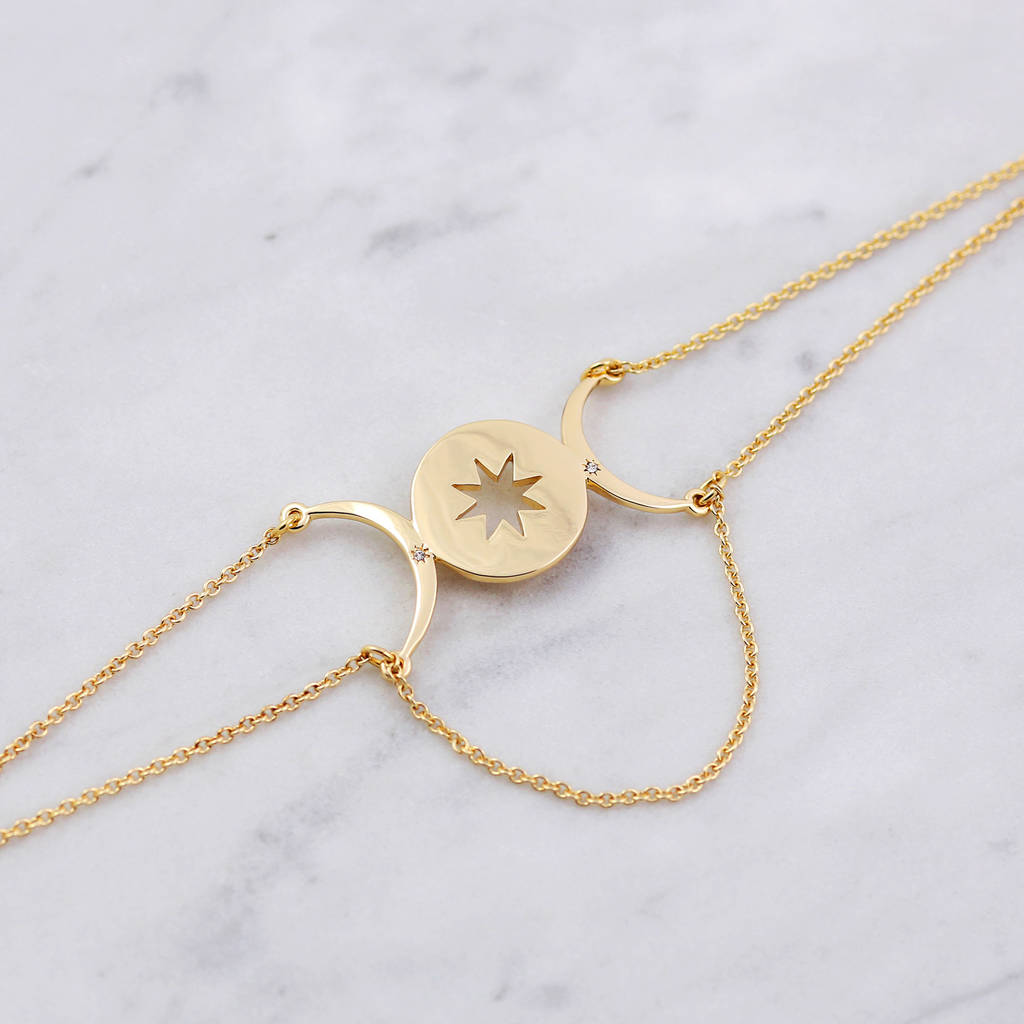 products triple necklace mrcombox moon