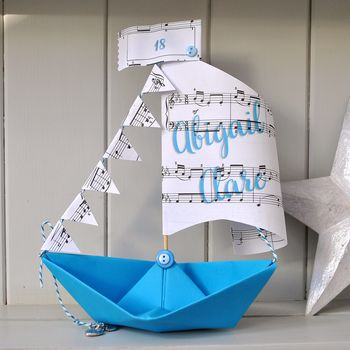 Personalised Music Sheet Sail Boat Card