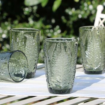 Forest Fern Green Glass Highball Tumblers